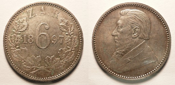 Sud Africa : 6 Pence Argento 1897 BB