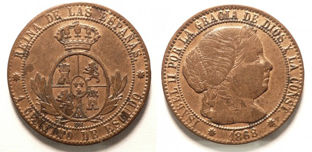 Spagna, Isabella II : 1 Centimo 1868 OM