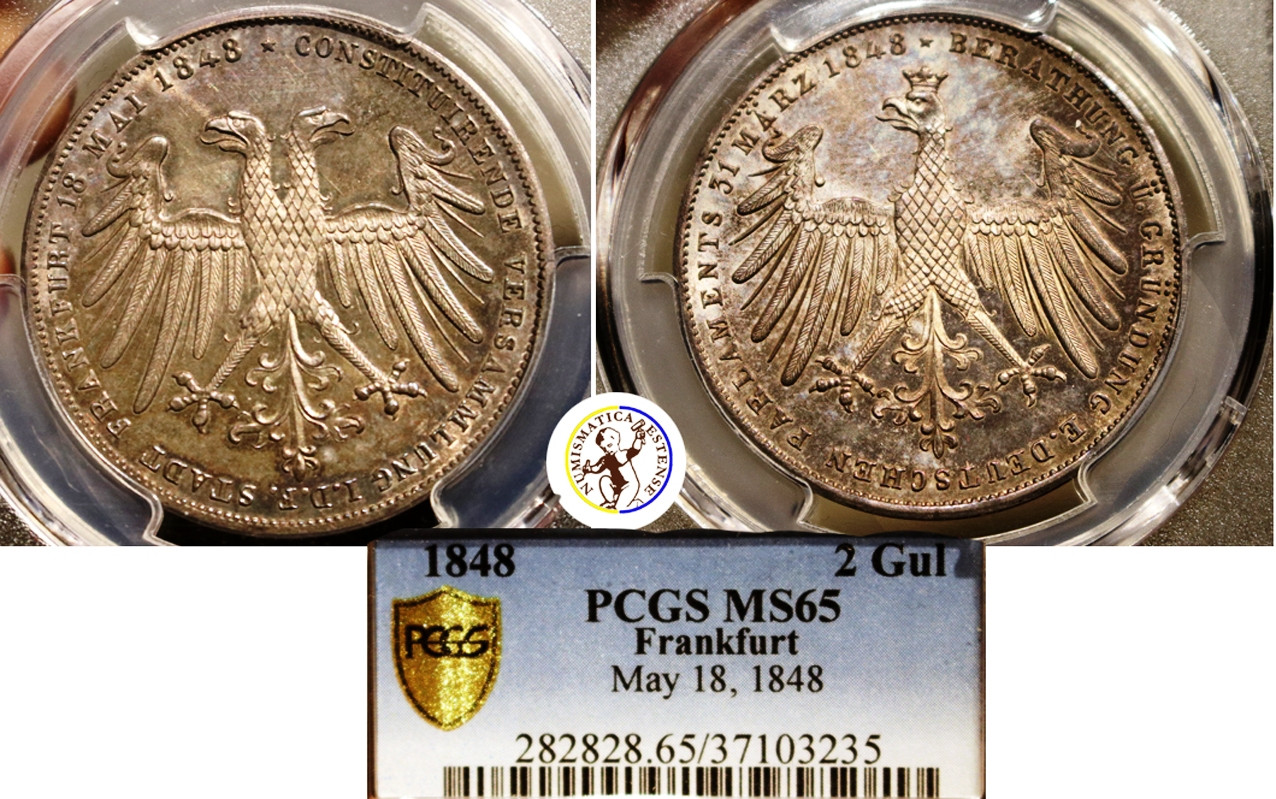 """Germany, Frankfurt : 2 Gulden 1848 """"Constitutional Convention"""" Silver PCGS MS65"""
